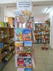 A bookstore in Ghana carries multiple titles for youth written by African authors.